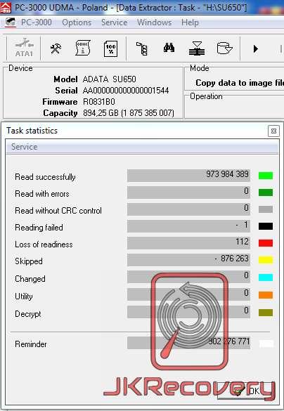 ilość odzyskanych sektorów adata su650